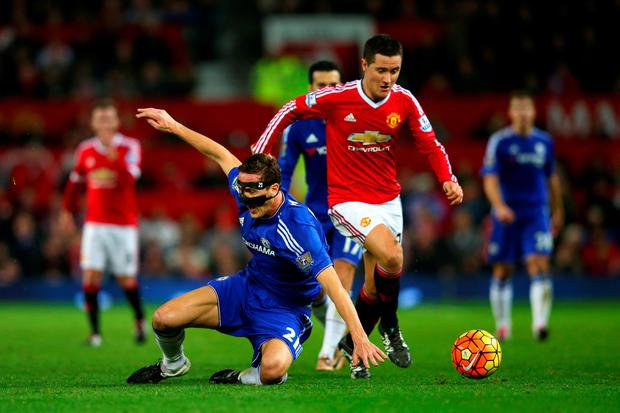 Ander Herrera of Manchester United battles for the ball with Nemanja Matic of Chelsea during the Barclays Premier League match between Manchester United and Chelsea at Old Trafford on December 28, 2015 in Manchester, England. (Photo by Alex Livesey/Getty Images)