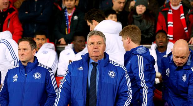 At the helm: Guus Hiddink has been tasked with the job of salvaging something from Chelsea's floundering season