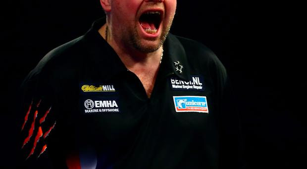 Big shout: Raymond van Barneveld shows his delight