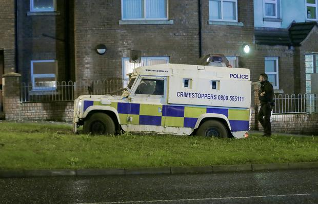 Police stuck in the mud in Springfield Avenue area of west Belfast (Photo by Kevin Scott)