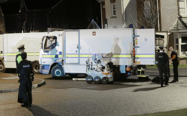 Police at the scene of a security alert in the Millreagh development, Dundonald ( Photo by Kevin Scott )