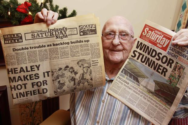 George Kirkpatrick yesterday with a copy of Ireland's Saturday Night, which he used to sell as a boy