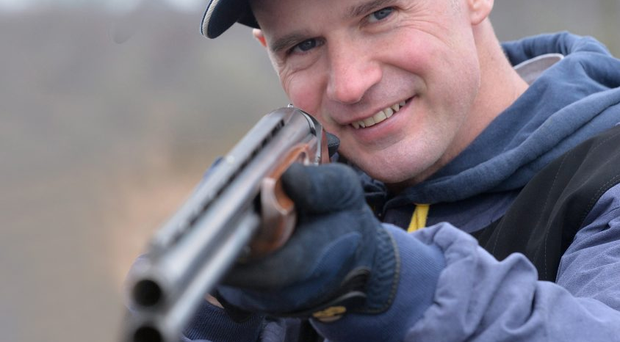 Taking aim: Ryan Farquhar has discovered a new passion in clay pigeon shooting in his semi-retirement from motorcycling