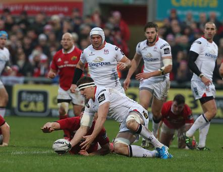 Ulster's Robbie Diack in action with Munster's Jack O'Donoghue. Pic Matt Mackey