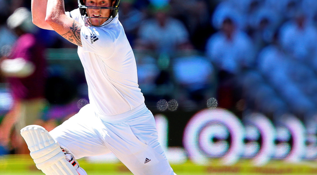 On the attack: Ben Stokes hits out during his memorable double century