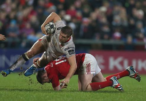 Losing effort: Ulster's Chris Henry and Niall Scannell