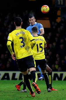 Head boy: Sergio Aguero scores the late winner