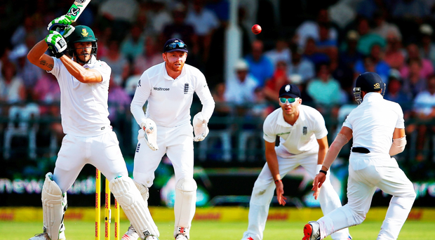 On strike: South Africa's Faf du Plessis adds to his runs tally as England toil