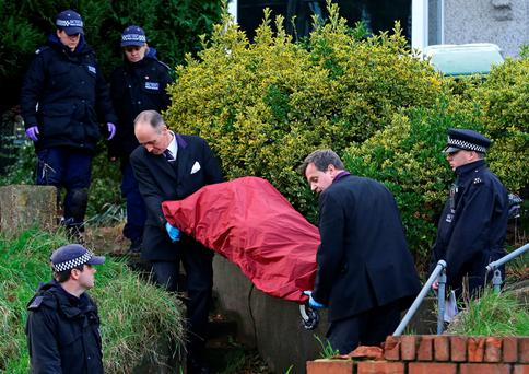 A body is removed from a house in Erith, Kent, which is being searched by the police in relation to the missing former EastEnders actress Sian Blake. Gareth Fuller/PA Wire
