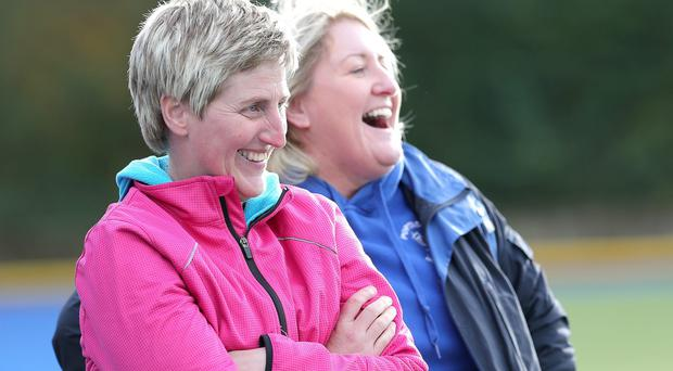 Press Eye - Hockey - Belfast Harlequins v Portadown - 24th October 2015 Photograph by Declan Roughan - Presseye Portadown's coach Jeanette Gortdon (left) and assistant coach Alison Thompson, both former internationals.