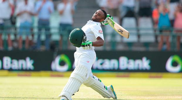 South African batsman Temba Bavuma celebrates after scoring a century (100 runs) during day 4 of the second Test match between England and South Africa