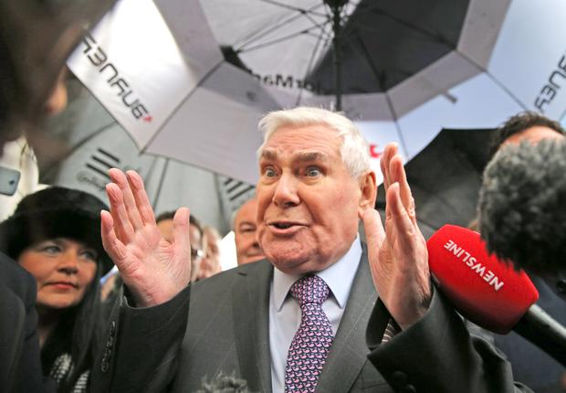 Pastor James McConnell outside Belfast Magistrates Court after he was cleared by a judge over remarks that he made from the pulpit in which he said that Islam was