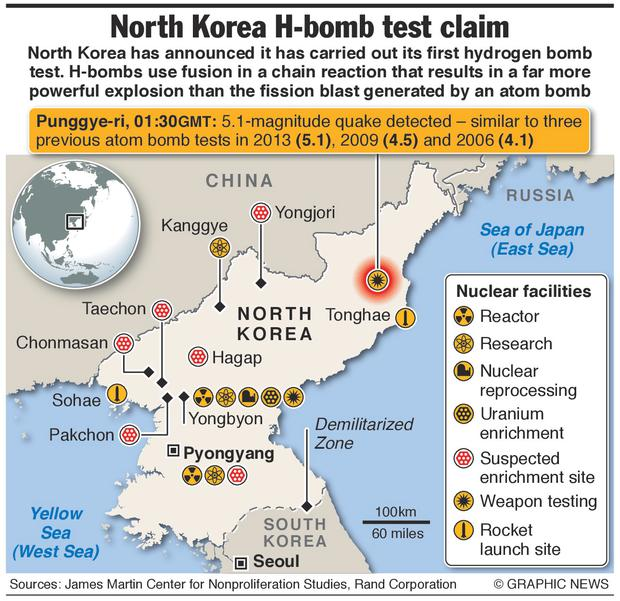 Graphic shows North Korean nuclear facilities