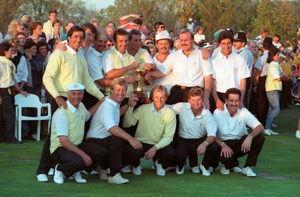 Memories: Christy O'Connor Jnr (front left) after Europe retained the Ryder Cup at the Belfry in 1989