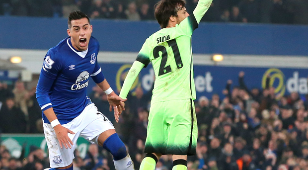 Get in: Everton's Ramiro Funes Mori (left) celebrates scoring his side's first goal against Manchester City