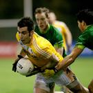 Hold tight: Antrim's Kevin Niblock in possession in the win over Queen's at the Dub