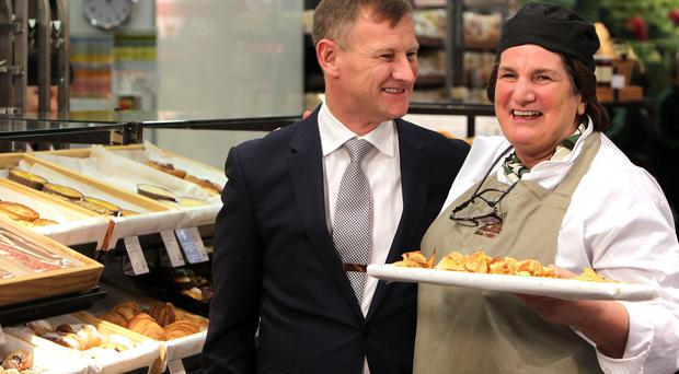 Steve Rowe of M&S meets staff during a visit to Sprucefield store at Lisburn last year