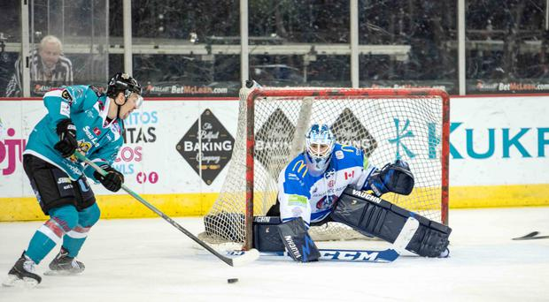 Duel: Mike Radja closes in on goal against Coventry netminder Brian Stewart