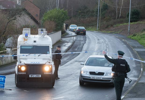 The scene at Southway in Derry's Creggan area where homes were evacuated during a security alert following the discovery of a suspicious object in the area. Picture Martin McKeown. Inpresspics.com.