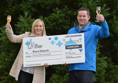 Pacemaker Press Belfast 08/01/2016: A 34-year-old road worker from County Armagh has won £4m on a National Lottery scratch card. Ross Hearst's wife Jocelyn is expecting their first child. Picture By: Arthur Allison; Pacemaker.