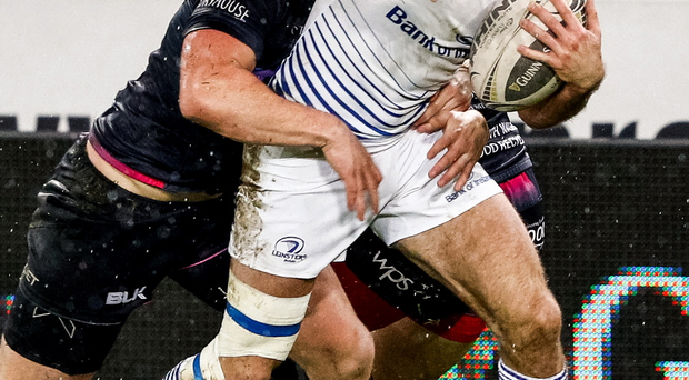 Get in: Leinster's Dave Kearney scores a try last night