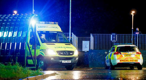 Belfast: Paramedics and police at the scene of an incident where a man lost his right arm following an accident at the Finaghy Halt in south Belfast. Photo by Kevin Scott / Presseye )