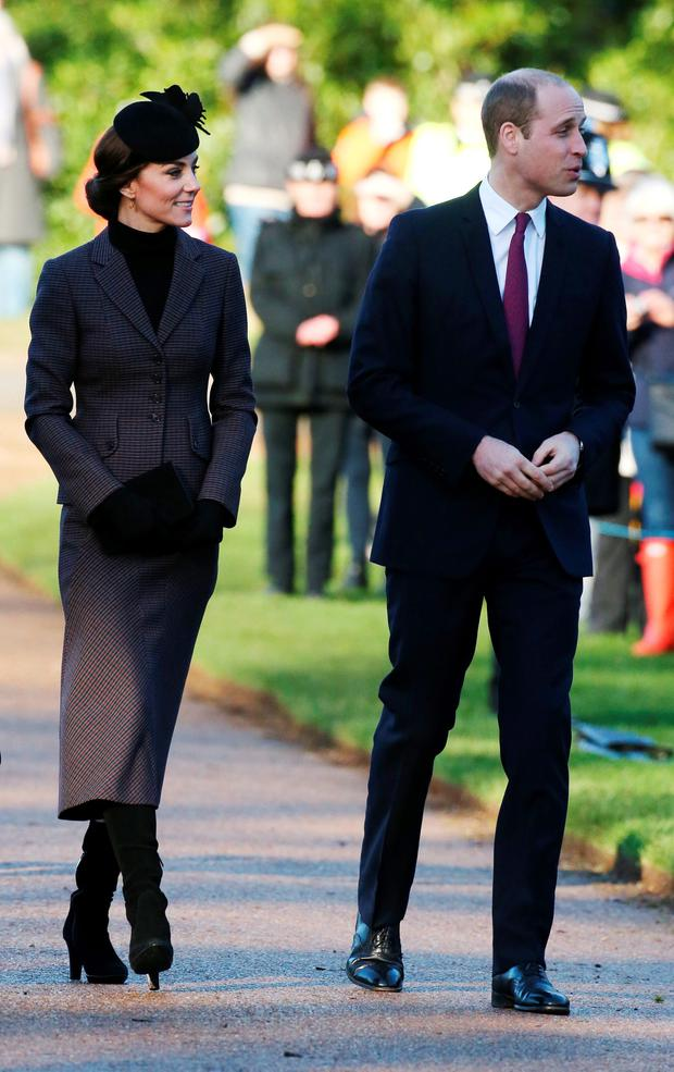 The Duke and Duchess of Cambridge leave following a service to mark the 100th anniversary of the end of the doomed First World War Gallipoli campaign at the Sandringham war memorial cross, Norfolk. Chris Radburn/PA Wire