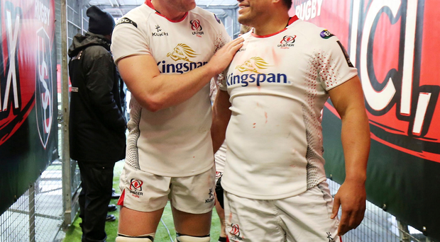 10 January 15 - Picture by Darren Kidd / Press Eye. Champions Cup: Oyonnax v Ulster at Stade Charles Mathon, Oyonnax, France. Ulster's Franco van der Merwe and Nick Williams celebrate their win in Oyonnax's