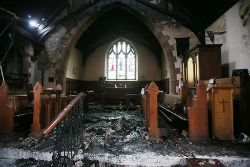 Damage caused by a fire at St Colman's Church of Ireland, Dunmurry. Pic Jonathan Porter/PressEye
