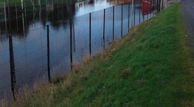 Sinking feeling: the Maghery club in Armagh has been hit hard by recent downpours and flooding, with large parts of their property submerged in water and sewage also causing a real problem