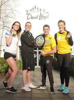 Winning team: Mencap Fundraising Co-ordinator and European Lightweight MMA Champion Leah McCourt joined Personal Trainer Matthew Spiers, Paralympic Gold medallist and Mencap Ambassador Jessica-Jane Applegate MBE and boxing star Marc McCullough to announce Mencap's partnership with David Lloyd for the 2016 Deep RiverRock Belfast City Marathon