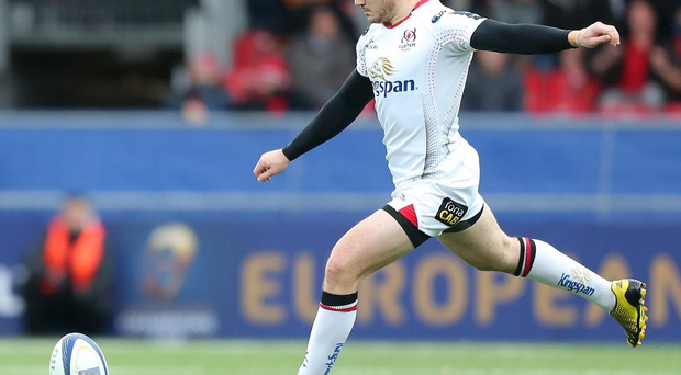 Keeping his cool: Paddy Jackson sends over the decisive penalty in the win over Oyonnax
