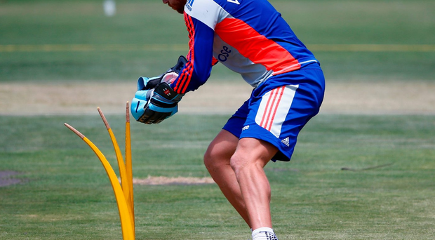 Great catch: Jonny Bairstow gears up for the third Test against South Africa