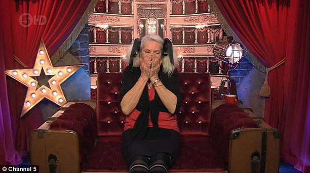 Celebrity Big Brother contestant Angie Bowie broke down in tears after she was told about her ex-husband David's death. Pic Channel 5