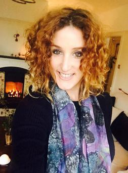Bronagh Waugh - PeaCo Creations - wearing a scarf she created