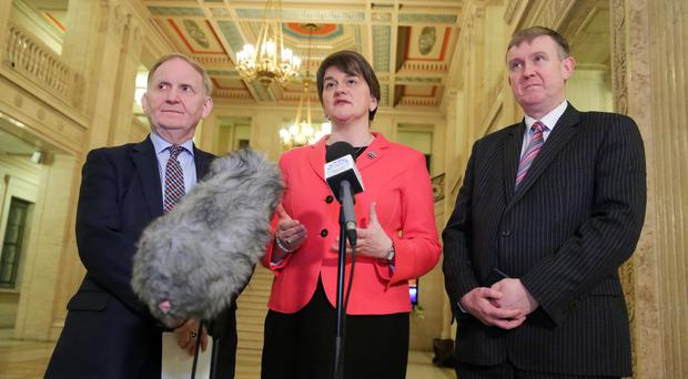 First Minister Arlene Foster with new Social Development Minister Maurice Morrow, left and Finance Minister Mervyn Storey. Picture by Kelvin Boyes / Press Eye.