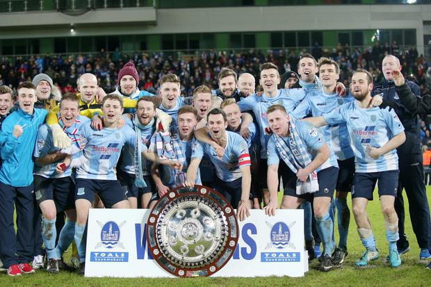Press Eye - Belfast - Northern Ireland - 12th January 2016 Toals Bookmakers County Antrim Shield Final at Windsor Park Belfast. Linfield Vs Ballymena. Ballymena's celebrate as they lift the shield after winning 2-3. Picture by Jonathan Porter/PressEye