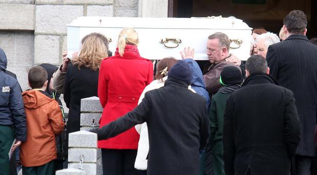 The funeral of Ella Trainor (6) who died in a car accident at weekend leaves St John the Evangelist church in Hilltown Co Down. Pic: Pacemaker