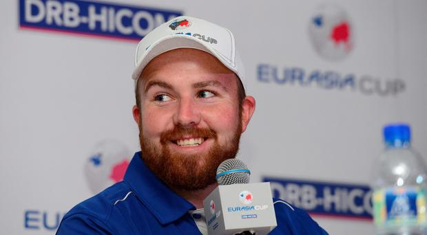 KUALA LUMPUR, MALAYSIA - JANUARY 13: Shane Lowry of Team Europe pictured during the press conference ahead of the Eurasia 2016 presented by DRB-HICOM at Glenmarie G&CC on January 13, 2016 in Kuala Lumpur, Malaysia. (Photo by Arep Kulal/Getty Images)