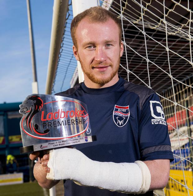 13/01/16 LADBROKES VICTORIA PARK - DINGWALL Ross County's Liam Boyce is the Ladbrokes Premiership player of the month award winner for the month of December