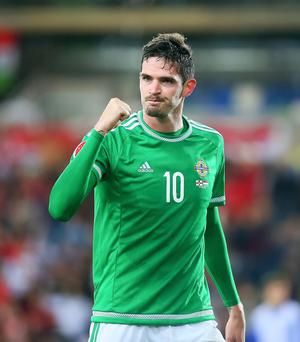 Kevin Scott / Presseye Monday 8th September 2015, Belfast , Northern Ireland - Northern Ireland vs Hungary Pictured is Northern Irelands' Kyle Lafferty celebrates during the game Picture - Kevin Scott / Presseye