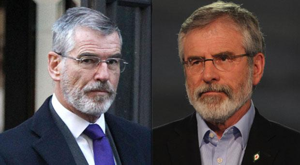Left: Pierce Brosnan is playing an ex-IRA man and right Sinn Fein president Gerry Adams.