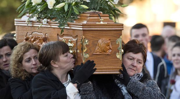 Family and friends attend the funeral of Conor McKee in North Belfast. Picture Mark Marlow/pacemaker press