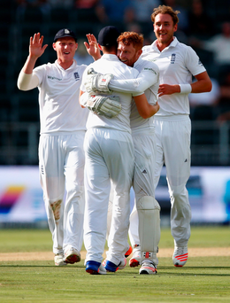 Delight: Jonny Bairstow of England celebrates running out Temba Bavuma of South Africa from Chris Woakes's fielding off Stuart Broad's bowling
