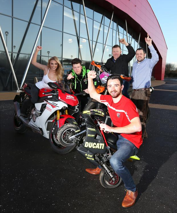Show time: Bike racers Glenn Irwin, Andy Reid and David McKee are joined by Meagan Green and promoter, Marty Nutt at the launch of the 2016 Northern Ireland Motorcycle Festival