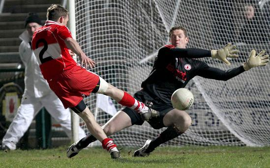 On the ball: former Tyrone ace Pascal McConnell made an impact in the Dr McKenna Cup