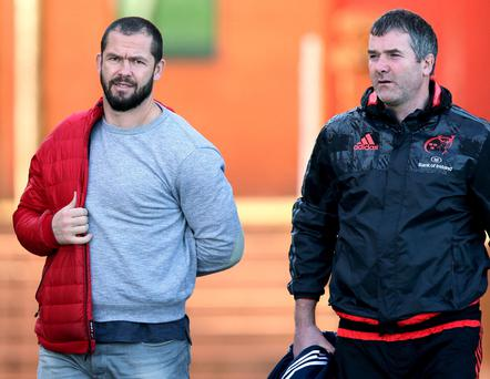 Helping hand: Andy Farrell (left) has been brought in to consult with Anthony Foley (right) on a short-term basis at Munster