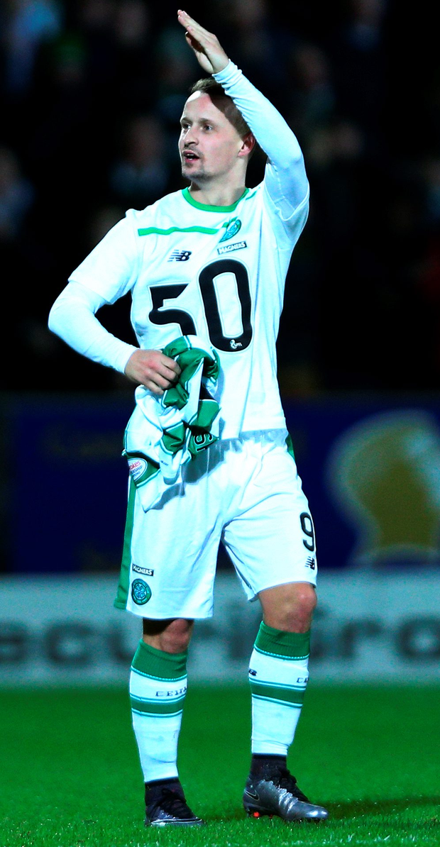 Big milestone: Leigh Griffiths was booked after celebrating his 50th goal for Celtic and he soon netted his 51st