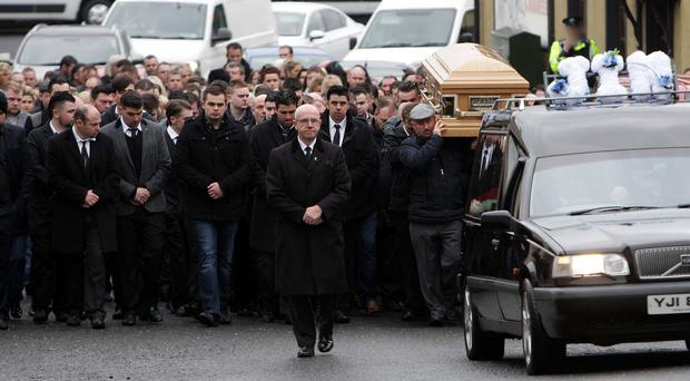 The funeral of James McDonagh in Coalisland today