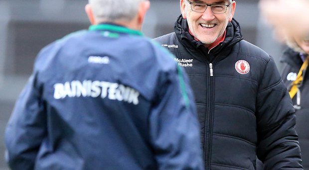 We've done it: Tyrone manager Mickey Harte is all smiles after his side conquered Fermanagh
